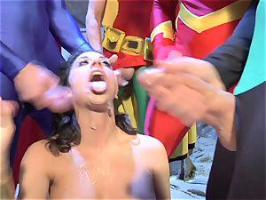 Wonder girl gargles all the superheroes' sausages