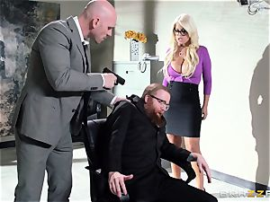 Bank robbing stunner Bridgette B plows in front of the boss