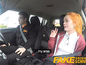 faux Driving school super-cute red-haired Ella Hughes romps