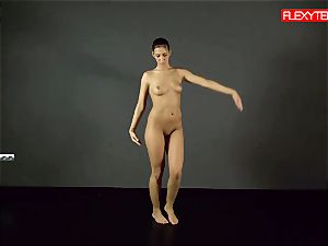 black-haired gymnast flashing of her caboose