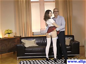euro inexperienced pussyfucked by senior guy