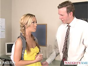 ponytailed Nicole Aniston blow sausage in classroom
