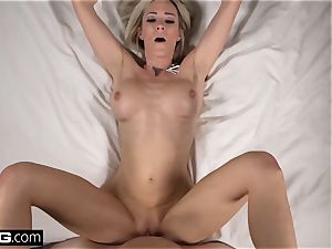 light-haired milf Blake Morgan gets jism on her massive mammories