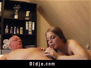 old stud penetrates light-haired masseur blows a load in her gullet