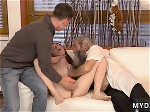 elderly grandma sudden practice with an aged gent