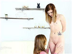 Alaina Dawson has her very first girl/girl experience with Christiana Cinn