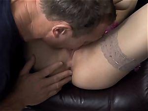 Beata nailed in naked hip high stockings