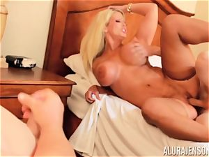 trunk deep throating super-naughty threesome Alura Jenson and man gives a helping mitt