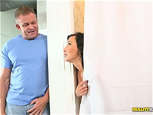 cuckold wifey Lezley Zen hammered secretly in the bathroom by spouse and her lover