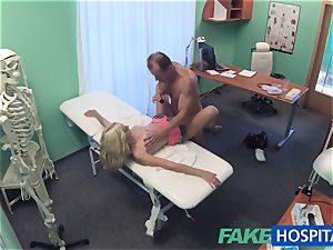 FakeHospital platinum-blonde patient playing with her fuckbox