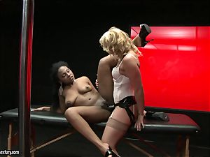 rough Kathia Nobili shoves her cable on man rod deep down her colleague jaws