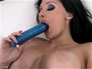 kinky honey Aletta Ocean pummels her pink hole with her dearest blue fucktoy