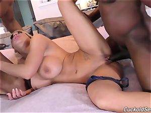 My cuckold husband looks like I'm taking ebony sausages