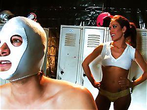 huge-chested brunette Capri tears up an aspiring luchador