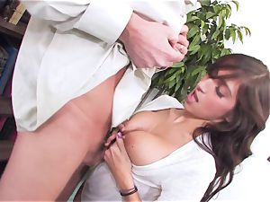 slutty brown-haired April ONeil getting her twat battered by a monster manhood