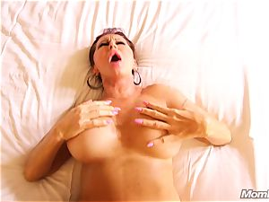 big-chested Russian GILF drizzles all over rod