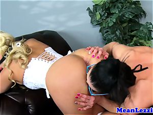 lezdom dominatrix gaging her foolish sub