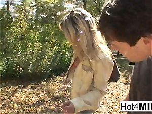 super-hot blondie milf has a threeway at the park