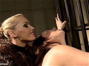 Kathia Nobili in hairy jacket tantalizing a steamy babe
