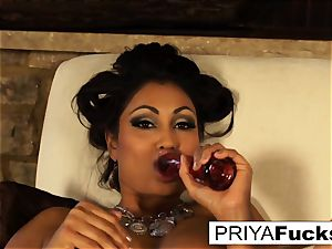 Indian milf Priya teases then sates her sumptuous humid fuck hole