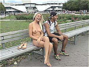 towheaded Czech nubile demonstrating her molten body nude in public