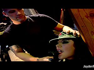 Army fuckin' with huge-boobed black-haired Jayden Jaymes