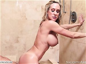 buxomy mummy Brandi love with phat bosoms entices her stepson in the douche