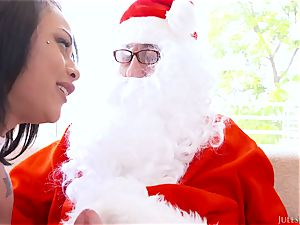 slim ultra-cutie Holly Hendrix with small boobies takes a ample fuck-stick in her Christmas gash