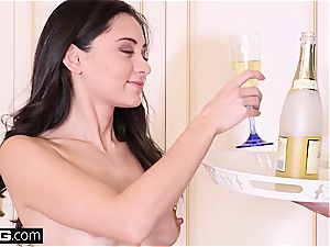 apartment service brings wine and jizz for crazy high class Eurobabe