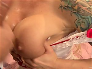 Brooke Haven gets her jaws wedged with hard cock