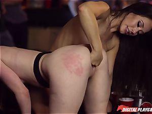 Red-headed tramp Ella Hughes and fatal black-haired Eva Lovia have hookup in a nightclub