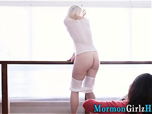 Uniformed mormon licked