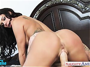 busty black-haired Peta Jensen deepthroat and nail a humungous beef whistle
