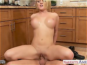 big-titted wifey Krissy Lynn tonguing jizz in the kitchen