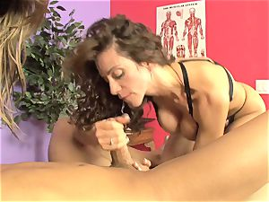 Ariella Ferrera and hot stunner throating a rock-hard manstick