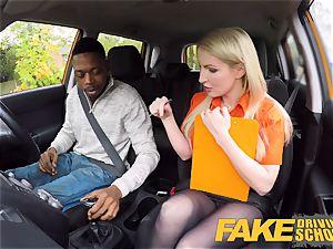 fake Driving school lengthy ebony weenie pleases platinum-blonde