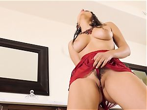 Valentina Nappi making her fur covered muff jism