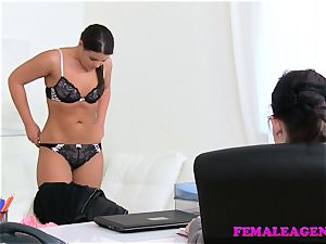 gal Agent timid sweetie seduced plowed by huge-boobed agent
