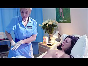 GIRLCORE girl-on-girl Nurses Give nubile Patient Vaginal check-up