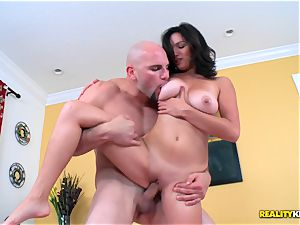 cute lil' dark-haired Shae Summers rides on immense beef whistle
