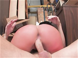big-boobed tart Kerry Louise gets stuffed stiff and earns a huge stream of scorching cum