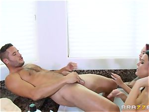Maid Peta Jensen washes the cooter of Monique Alexander and gets gash thrashed by Danny Mountain