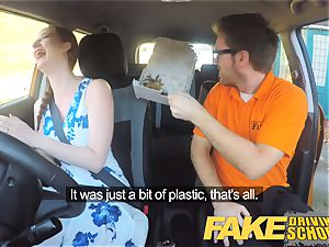 faux Driving school Nerdy red-haired nubile college girl