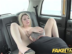 fake taxi super red-hot platinum-blonde with a good figure likes lollipop