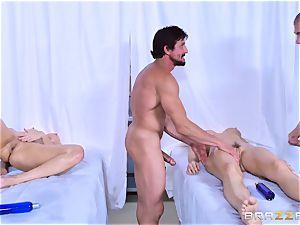 Monique Alexander and Chanel Preston enjoy joint massage humping