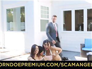 SCAM ANGELS - super-fucking-hot Melissa Moore plowed in wild fourway