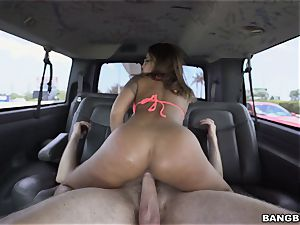 splendid black-haired picked up by the BangBus