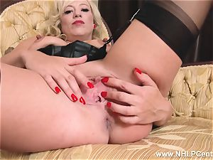 blondie in antique wear nylon underpants draining humid coochie