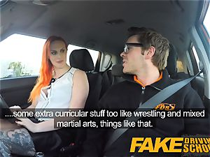 faux Driving college fantastic sandy-haired lusts after big cock