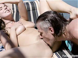 My finest friend's step-sister Lena Paul riding my stiff weenie outdoor